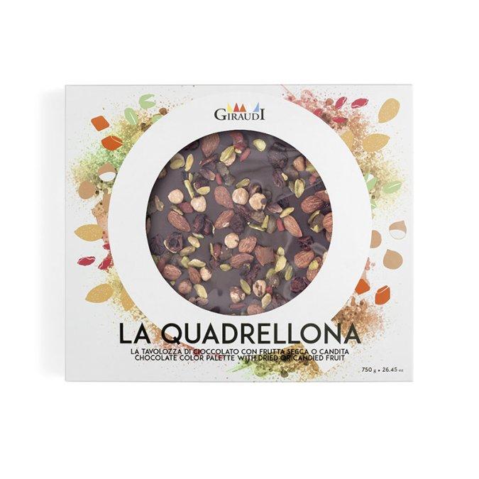 Confezione Quadrellona fondente e frutta secca candita Giraudi