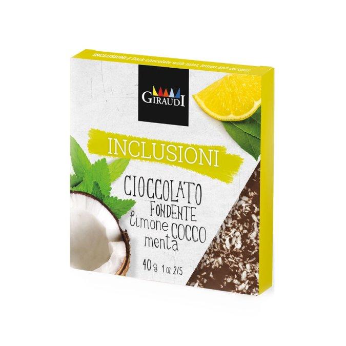Confezione Inclusioni fondente limone cocco e menta Giraudi