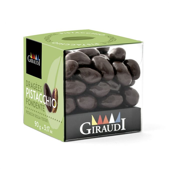 Box pistacchio ricoperto di cioccolato fondente Giraudi