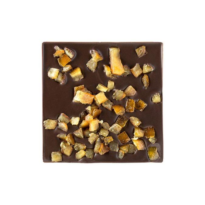 Quadrella cioccolato fondente e canditi dettaglio