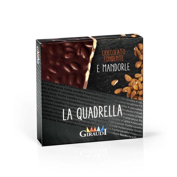 Quadrella cioccolato fondente e mandorle