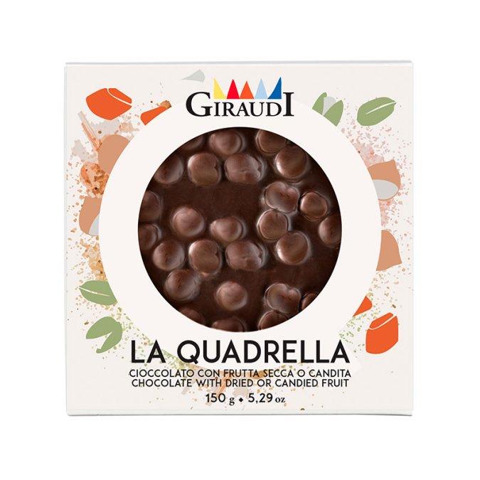 Quadrella cioccolato fondente e nocciole