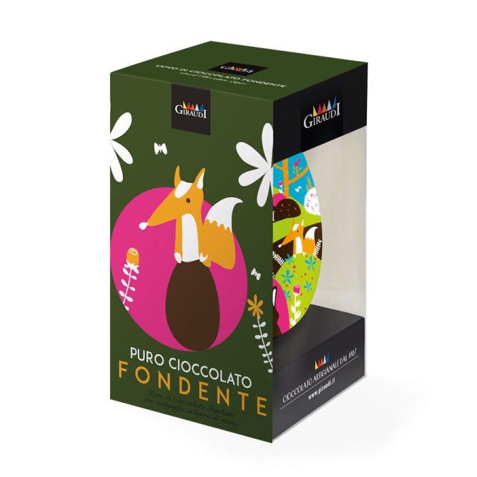 Confezione uovo di Pasqua fondente serigrafato Giraudi fronte