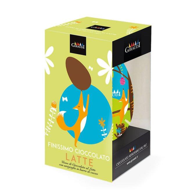 Confezione uovo di Pasqua al latte serigrafato Giraudi fronte