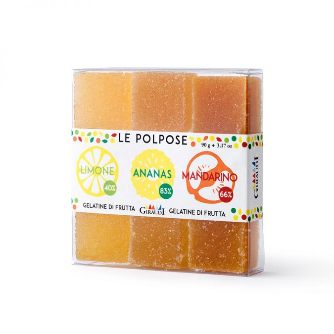 Gelatina alla frutta gusto limone, ananas e mandarino