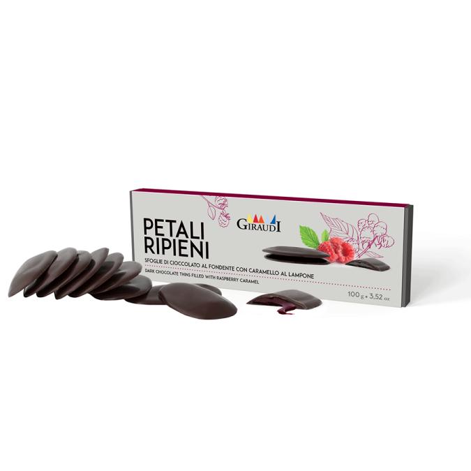 Chocolate petals with raspberry caramel